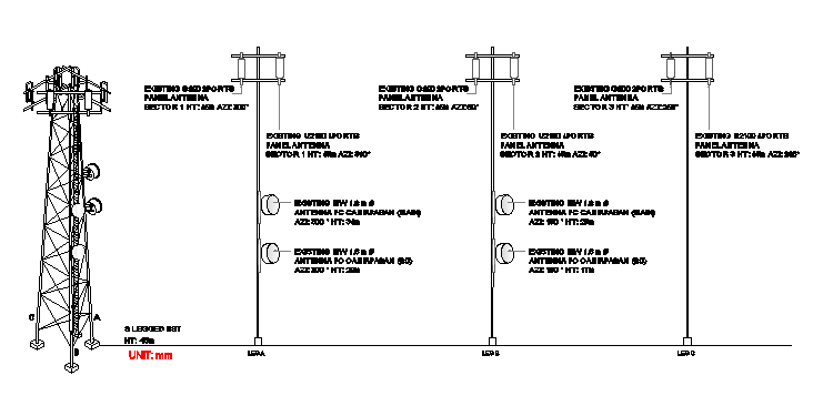Three legged electric tower architecture project dwg file