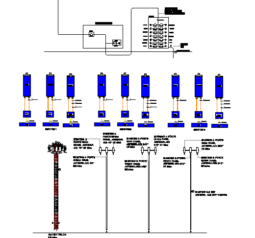 Three legged tower installation details with cabin dwg file