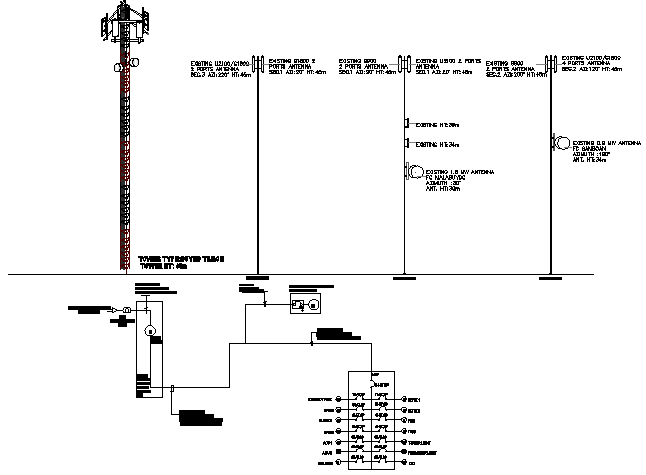 Three legged tower view with leg installation details dwg file