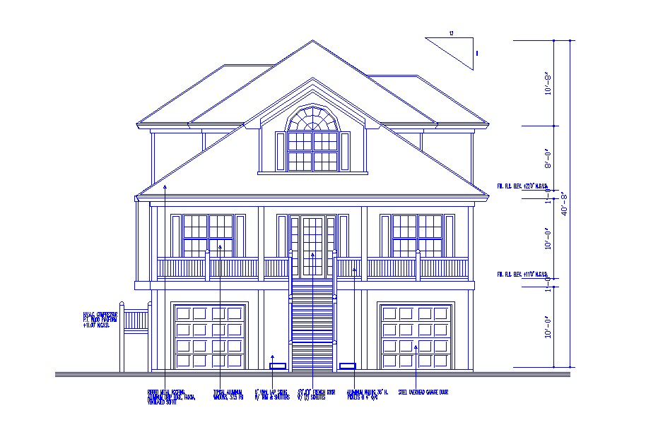 Three level house facing elevation cad drawing details dwg file