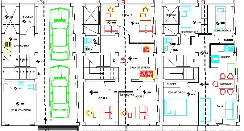 Three level house floor plan details dwg file