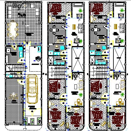 Three level multi-family building floor plan details dwg file