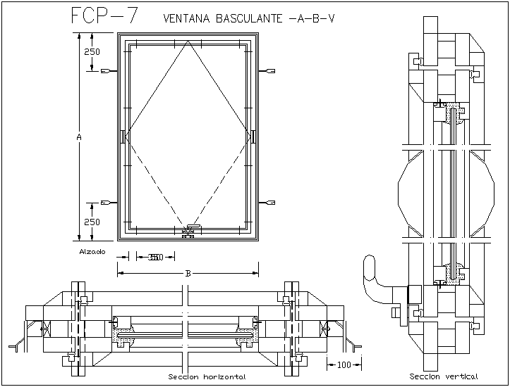 Tilting window view with horizontal and sectional view dwg file
