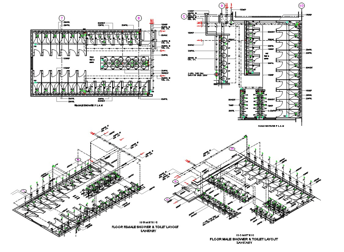Toilet Plan With Isometric View Autocad Drawing Cadbull