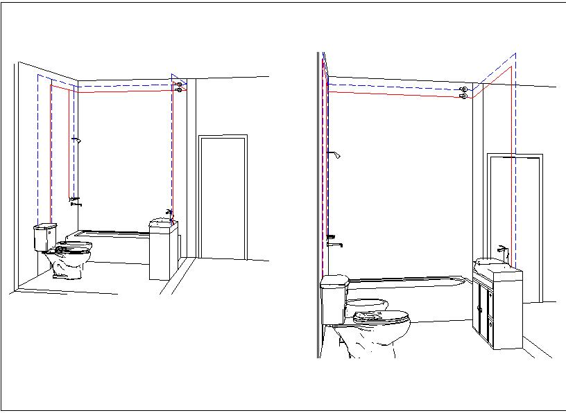 Toilet washroom isometric view detail dwg file