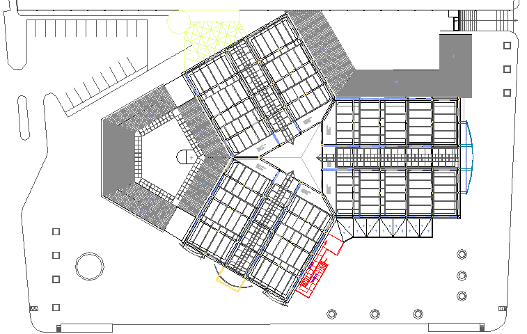 Top view and roof-ceiling details of shopping mall dwg file