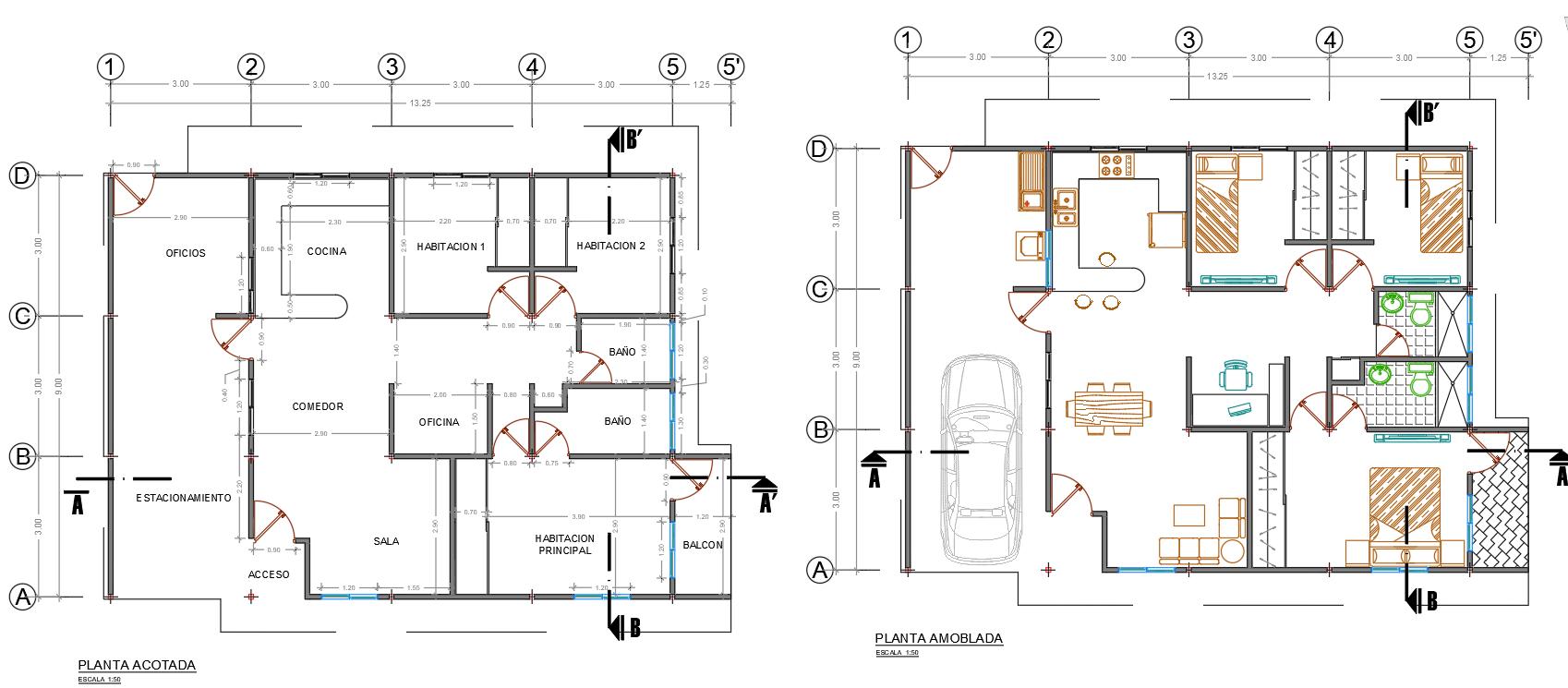 Top view furniture layout plan