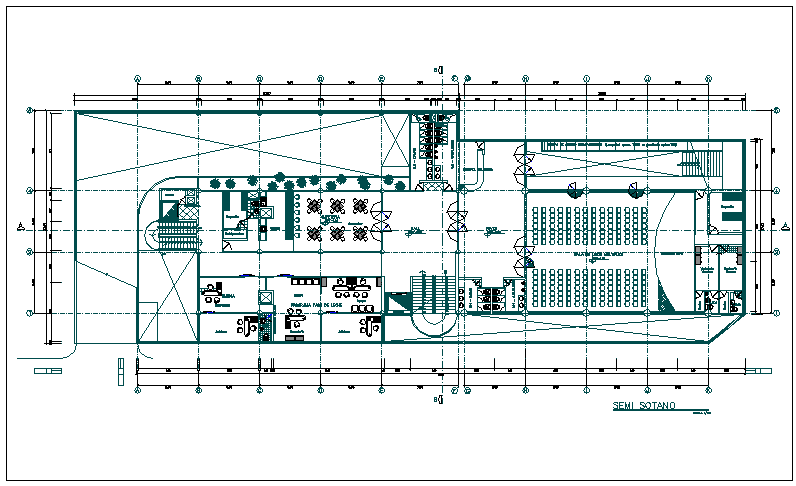 Top view layout plan of a building dwg file
