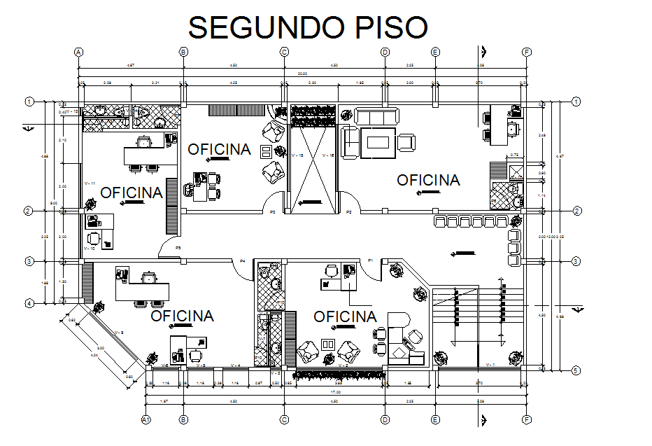 Top view layout plan of office  dwg file