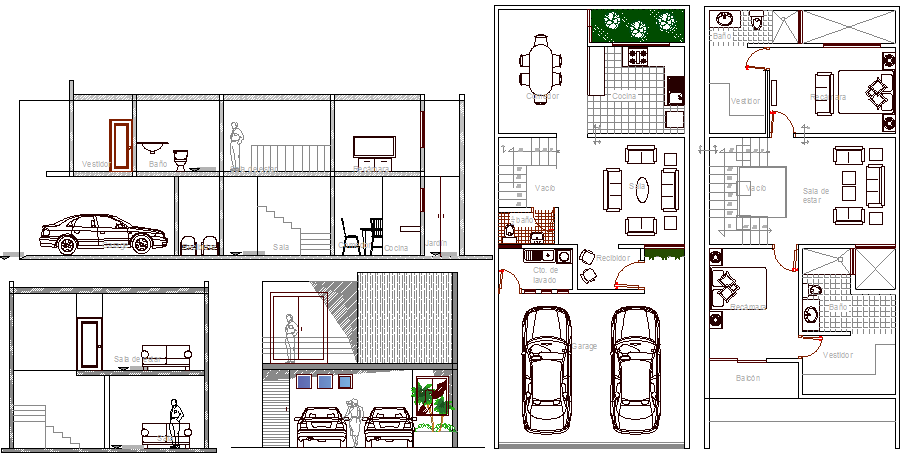 Town house sectional view with floor plan layout details dwg file