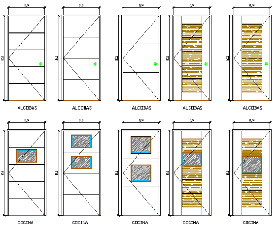 Traditional and modern door design details dwg file