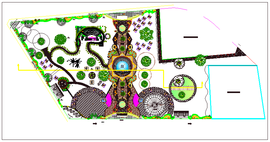 Traditional theme park landscaping details dwg file