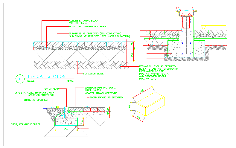 Tree planting and landscaping details of house garden dwg file