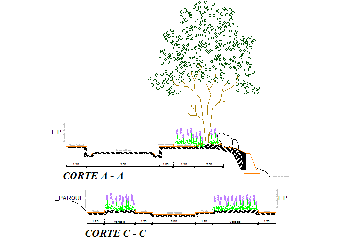 Tree section detail dwg file