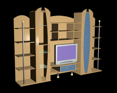 Tv unit with wood furniture