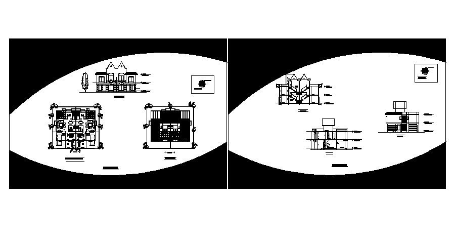 Twin bungalow drawing in AutoCAD