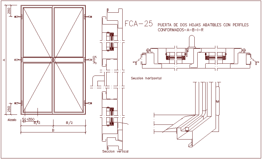 Two fordable sheet profile door with sectional view dwg file