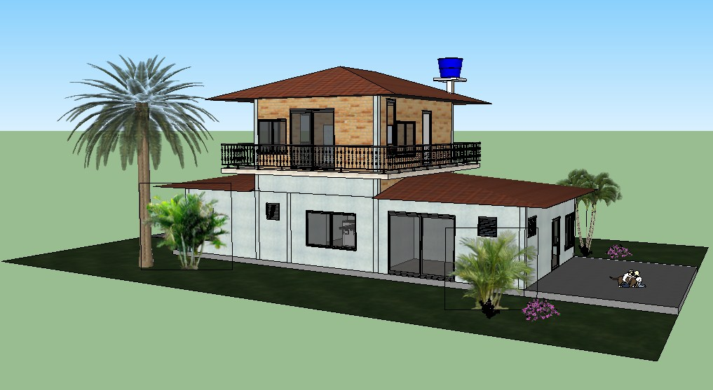 Two level beautiful 3d bungalow cad drawing details skp file
