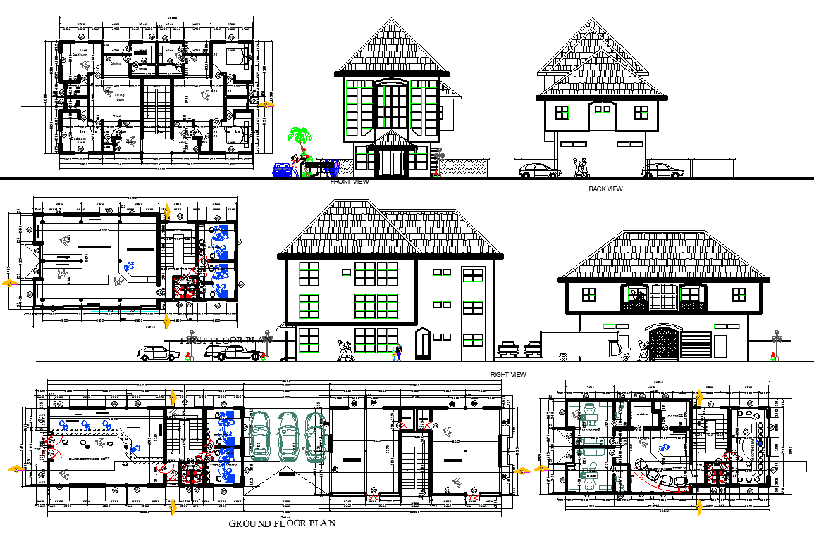 Two storey office building plan detail dwg file