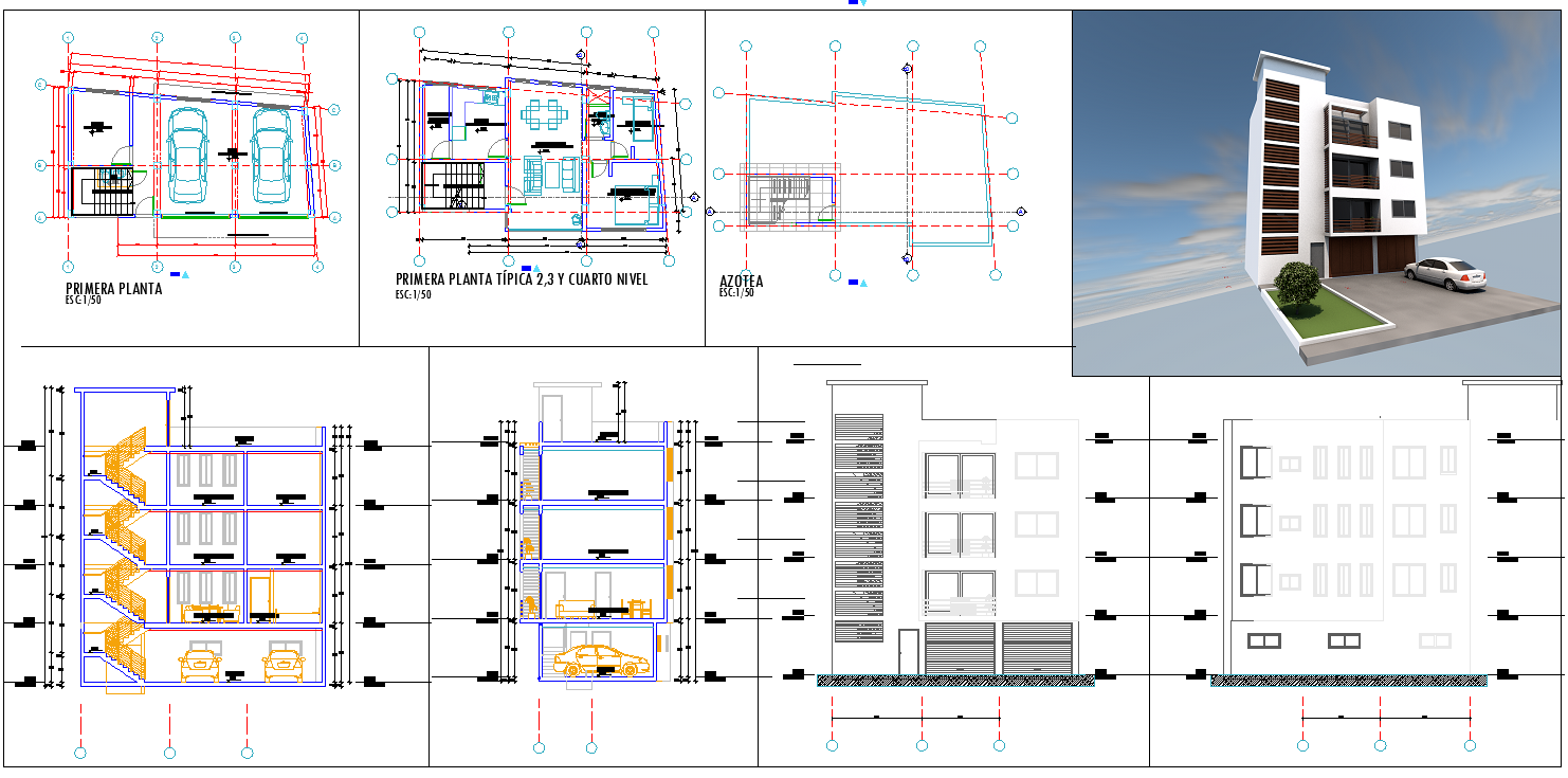 Two story family house cad drawing