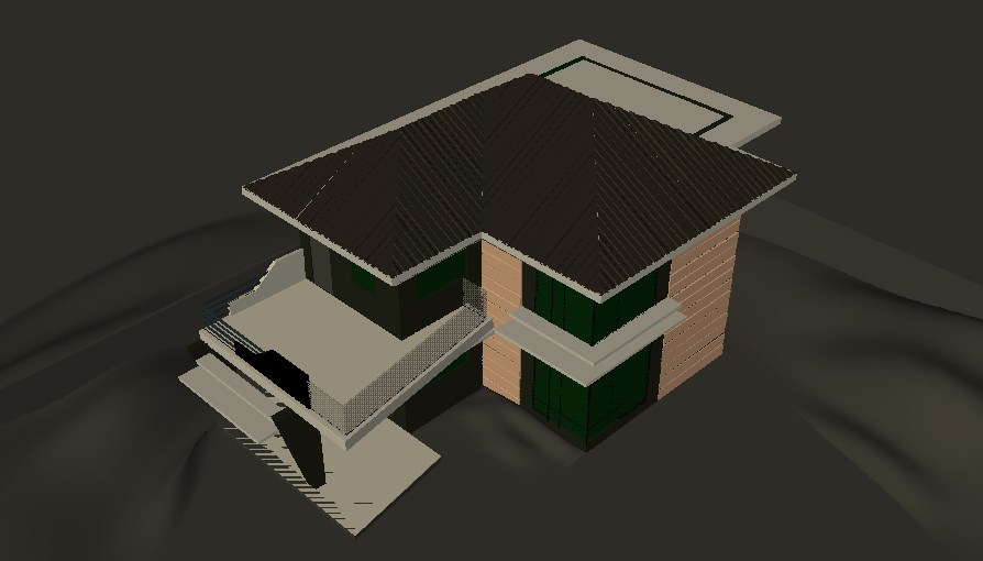 Two story house top view 3d model cad drawing details skp file