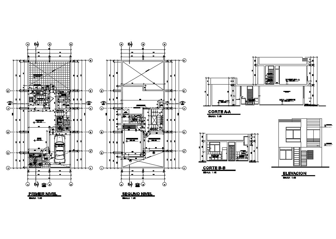 Two Story Residential House Elevation Section And Plan