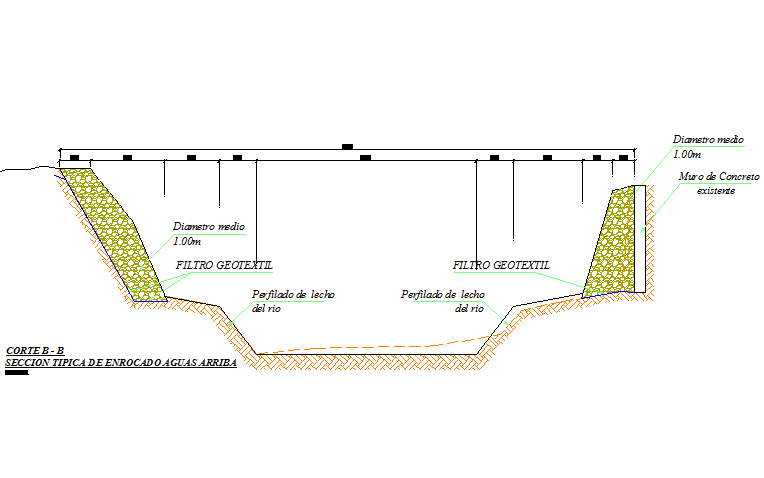 Typical section of riverbed upstream detail dwg file