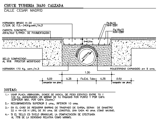 Under ground pipe crossing details of sewer dwg file