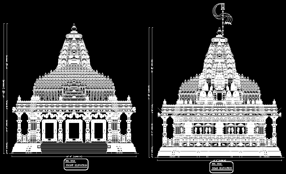 Temple cad block, Hindu temple plan, front and rear elevation in autocad