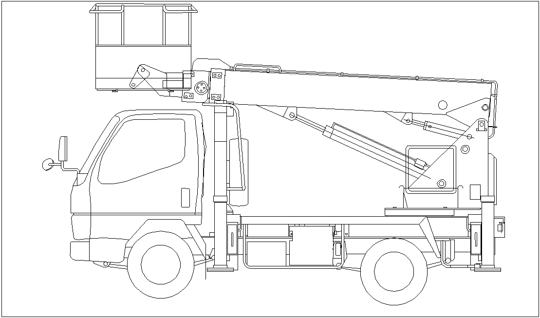 Vehicles cherry pickers single 3 block view dwg file