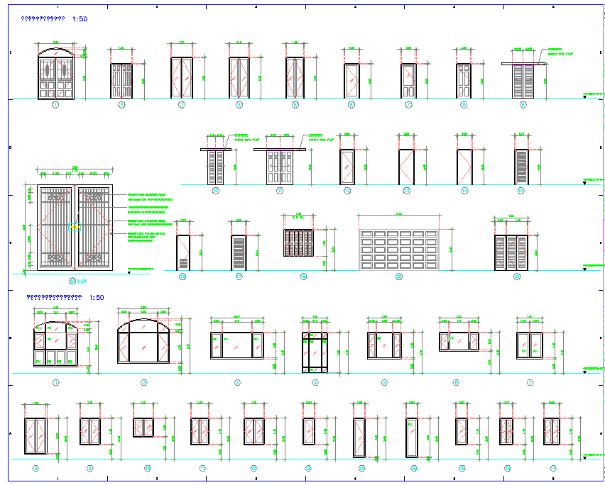 Villa Door and window detail dwg file