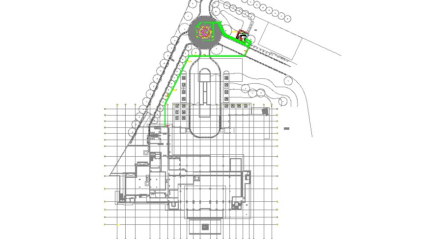 Villa building site plan and landscaping structure details dwg file