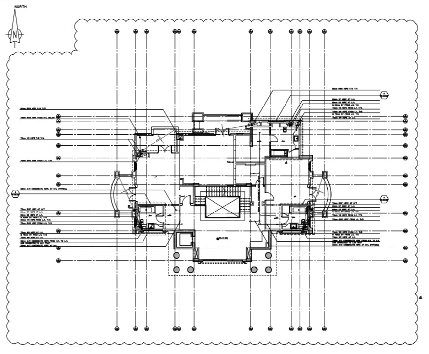 Villa first floor plan with the detail of drainage system.