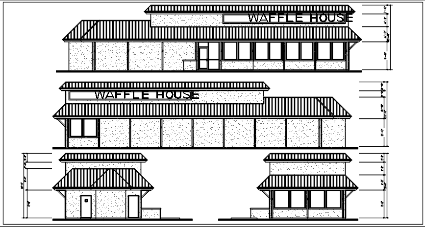 Waffle house plan elevation detail dwg file