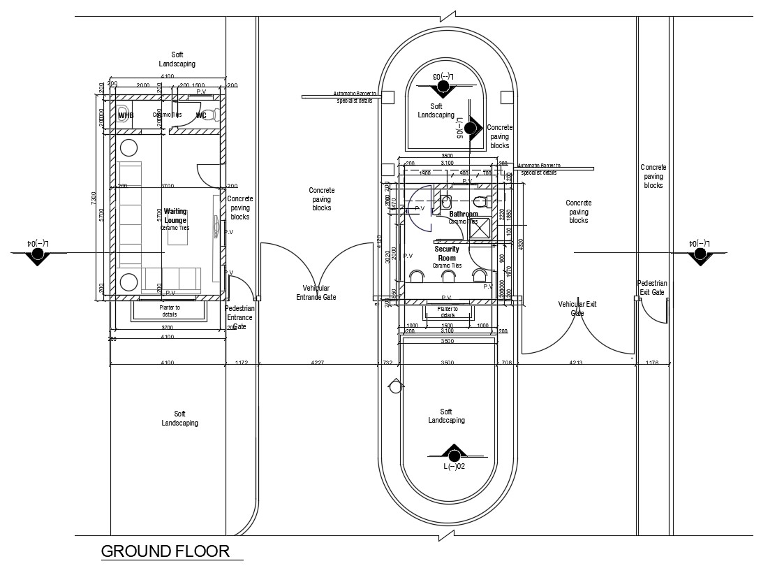 Waiting lounge And Security Room CAD Drawing