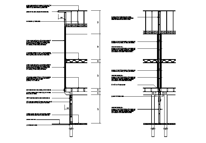 Wall Section Detail & Dimension cad file
