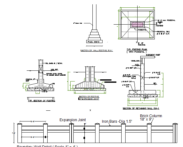 Wall construction details with footing of primary school dwg file