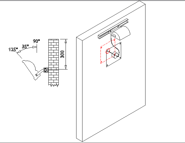 Wall reflector typical installation details dwg file