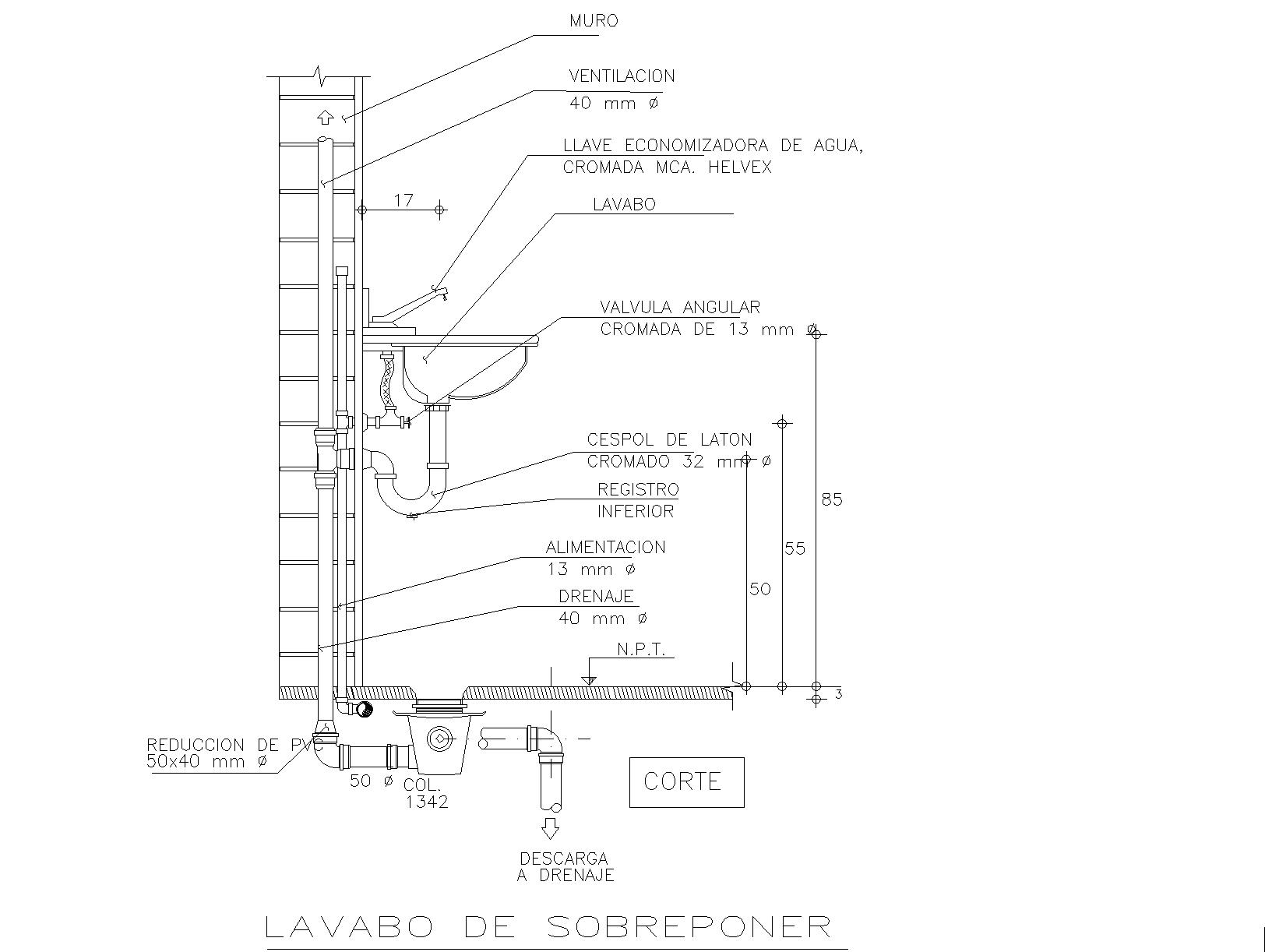 Wash basin installation detail plan detail dwg file.