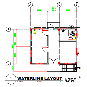 Water line layout of Small hospital design drawing