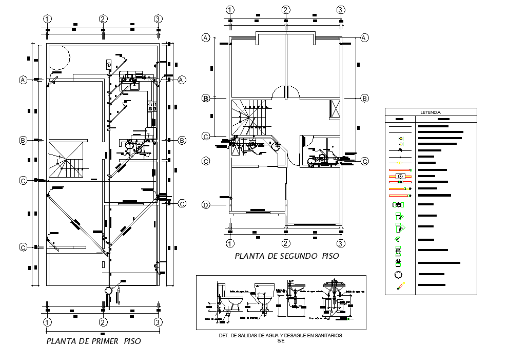Water pipe line house autocad file