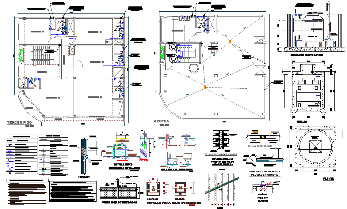 Water plumbing pipe house plan dwg file