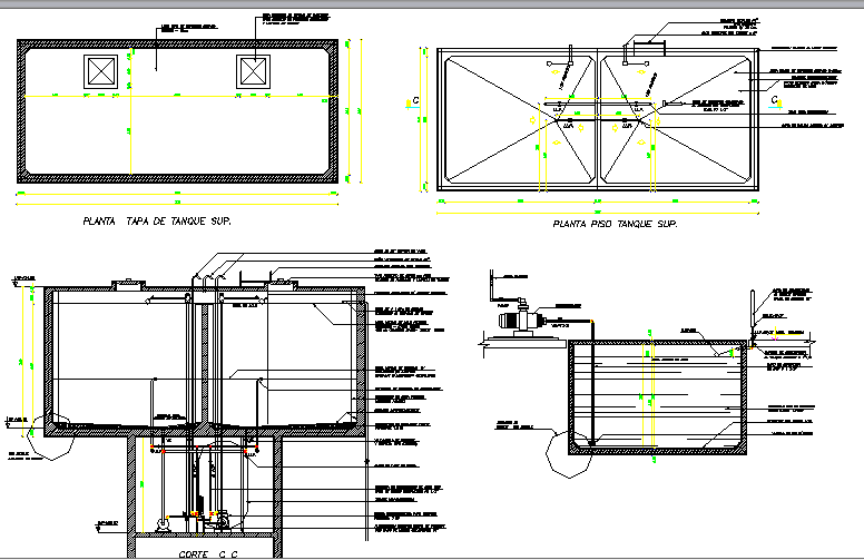 Water tank details with plumbing reserves dwg file
