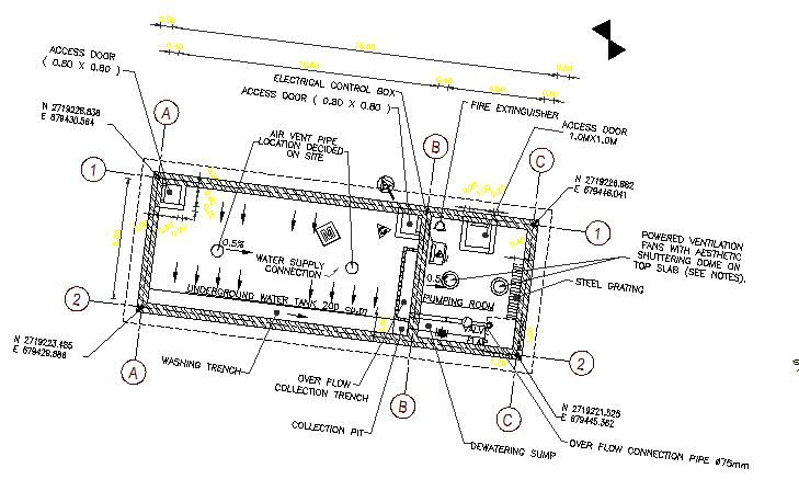 Water tank location architecture project dwg file