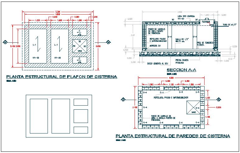 Water tank plan detail view dwg file