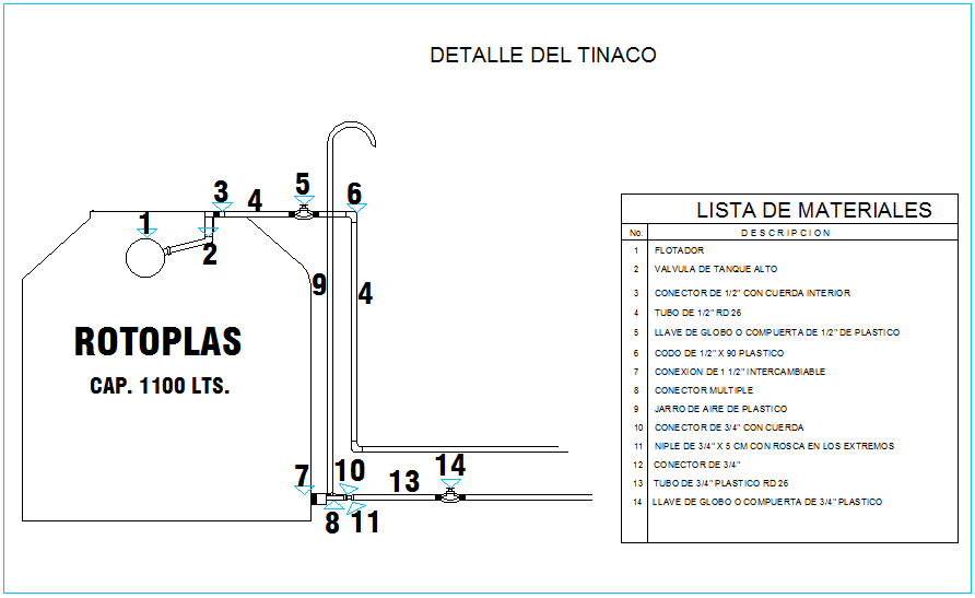 Water tank plumbing detail view with material list dwg file