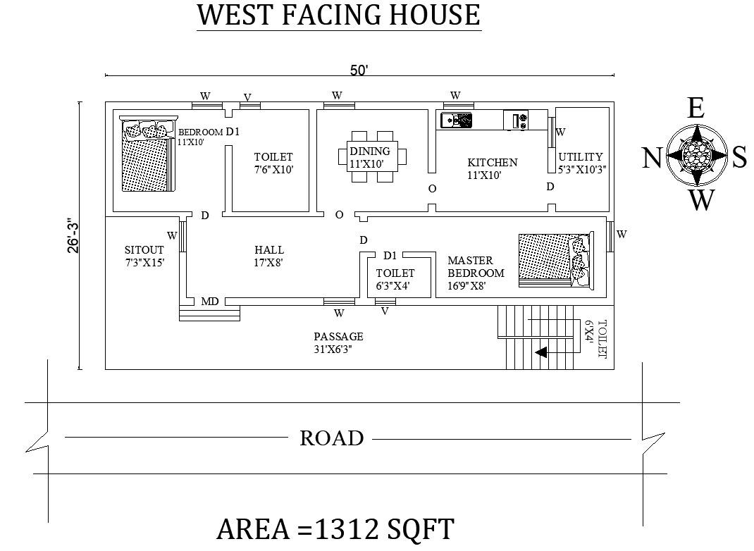 West Facing House Plan As Per Vastu Shastra Cadbull