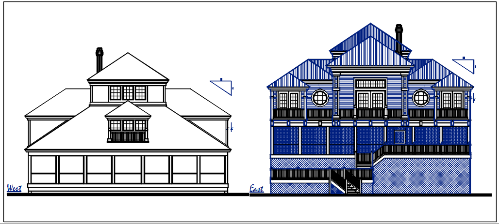 West elevation and east elevation view of bungalow dwg file