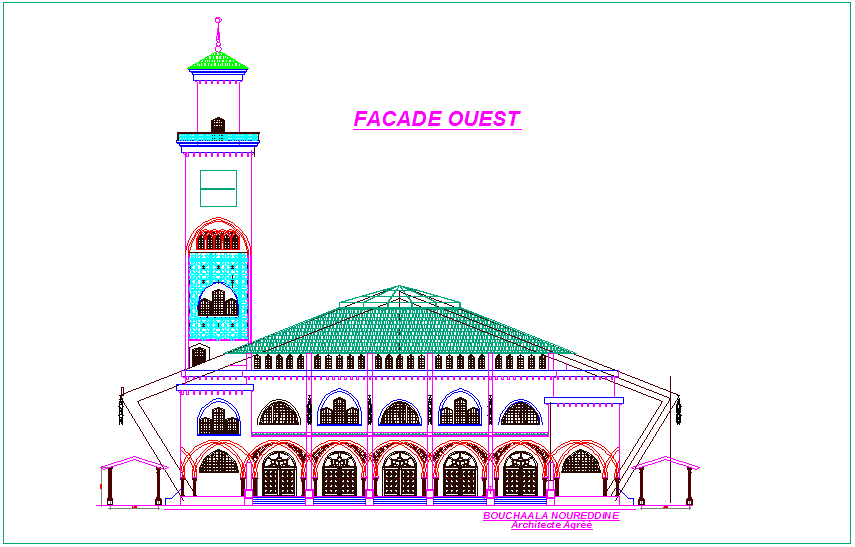 West side view of mosque with architectural view dwg file
