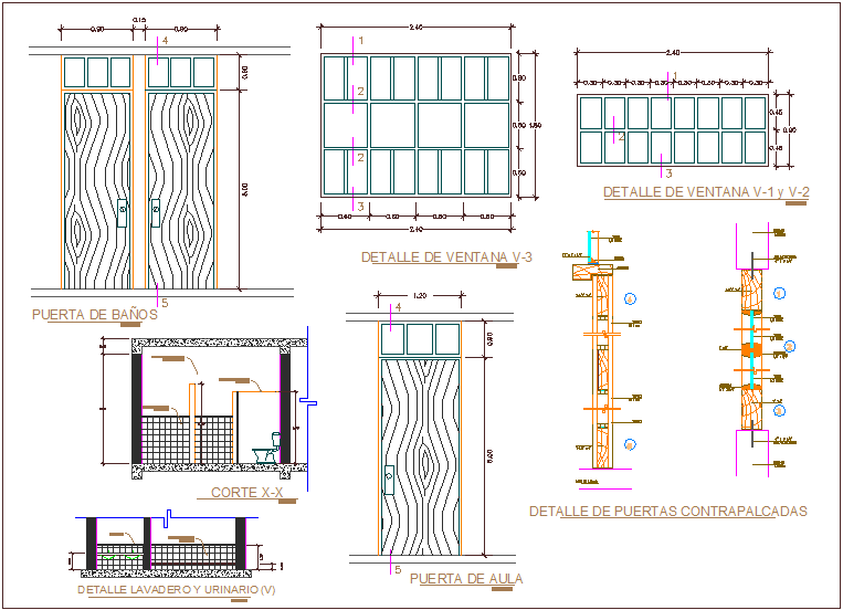Window and door design with sectional view dwg file